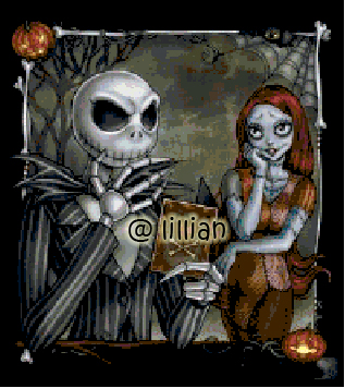 the nightmare before christmas jack sally chatting cross stitch pattern - The Nightmare Before Christmas Jack And Sally