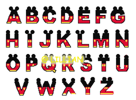 mickey mouse letters alphabet abc number 123 cross stitch patterns kits 23637